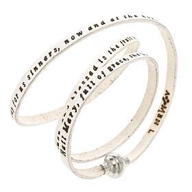 AMEN bracelets: Amen Bracelet in white leather Hail Mary ENG