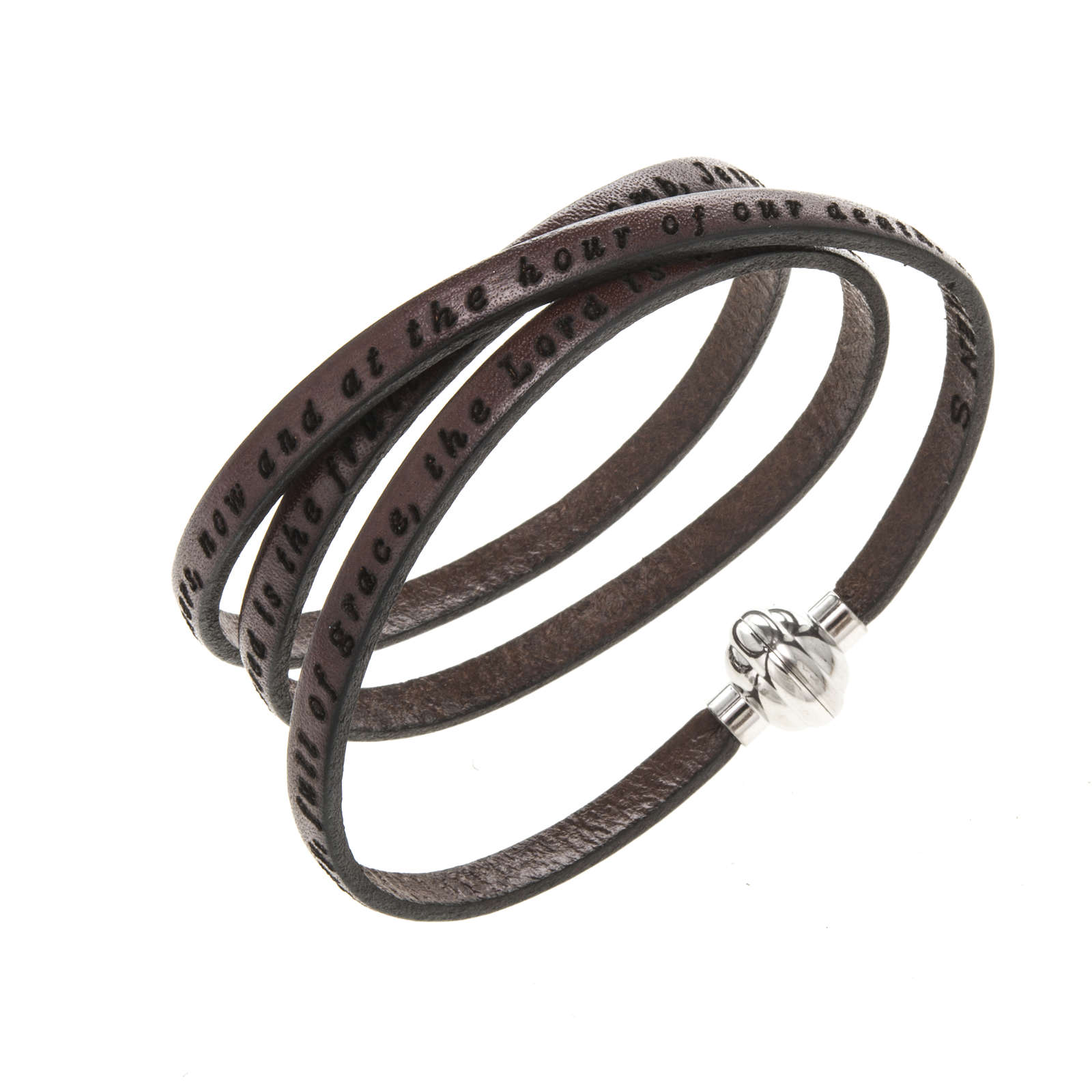 Amen Bracelet in brown leather Hail Mary ENG 4