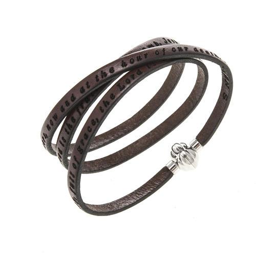 Bracelet Amen Je Vous Salue Marie marron ANG 1
