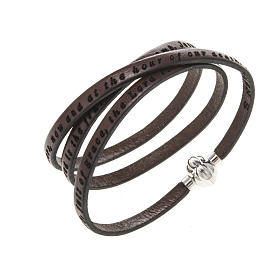 Amen Bracelet in brown leather Hail Mary ENG s1