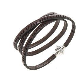 AMEN bracelets: Amen Bracelet in brown leather Hail Mary ENG