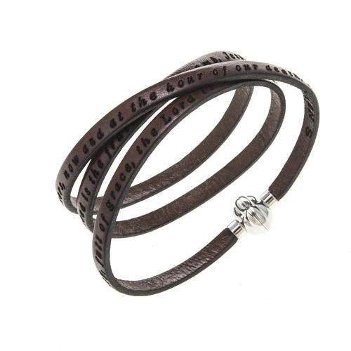 Amen Bracelet in brown leather Hail Mary ENG 1