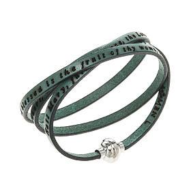 AMEN bracelets: Amen Bracelet in green leather Hail Mary ENG