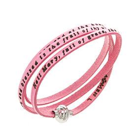AMEN bracelets: Amen Bracelet in pink leather Hail Mary ENG