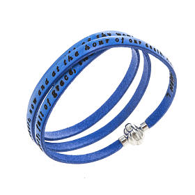 Amen Bracelet in blue leather Hail Mary ENG s1