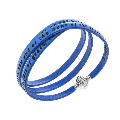 Amen Bracelet in blue leather Hail Mary ENG 1