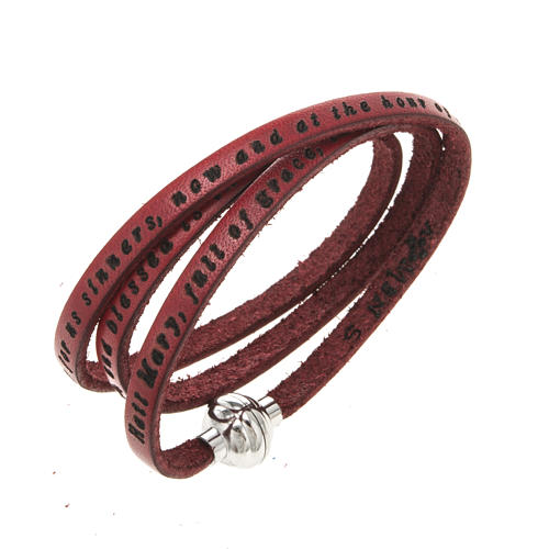 Amen Bracelet in red leather Hail Mary ENG 1