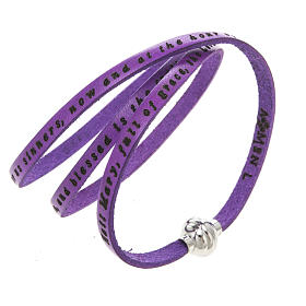 AMEN bracelets: Amen Bracelet in purple leather Hail Mary ENG
