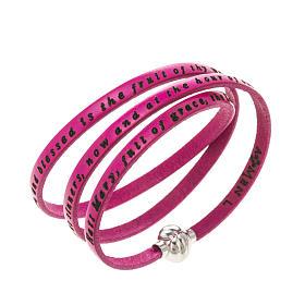 AMEN bracelets: Amen Bracelet in fuchsia leather Hail Mary ENG