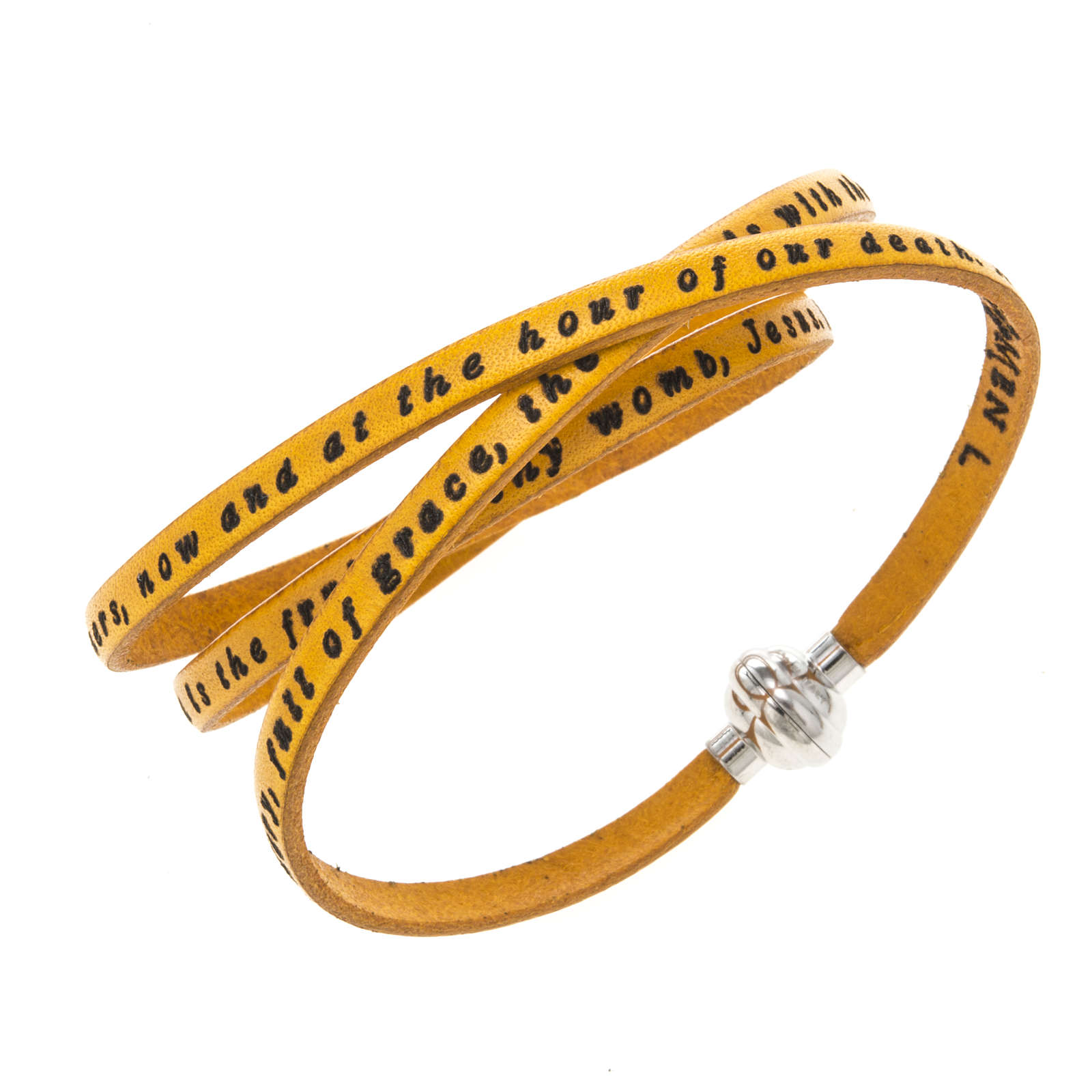 Amen Bracelet in yellow leather Hail Mary ENG 4