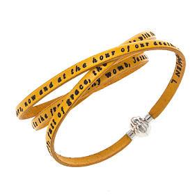 AMEN bracelets: Amen Bracelet in yellow leather Hail Mary ENG