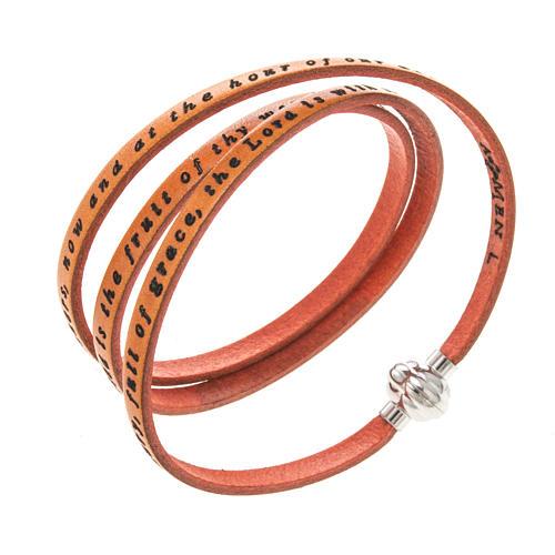 Amen Bracelet in orange leather Hail Mary ENG 1