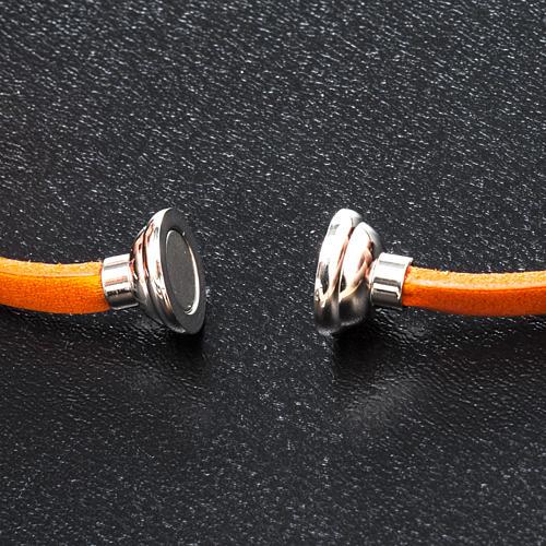 Amen Bracelet in orange leather Hail Mary ENG 2