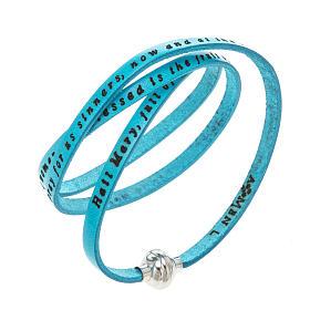 AMEN bracelets: Amen Bracelet in turquoise leather Hail Mary ENG