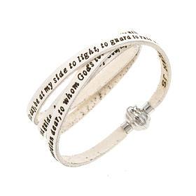 AMEN bracelets: Amen Bracelet in white leather Guardian Angel ENG