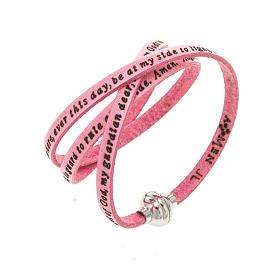 AMEN bracelets: Amen Bracelet in pink leather Guardian Angel ENG