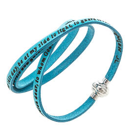 AMEN bracelets: Amen Bracelet in turquoise leather Guardian Angel ENG