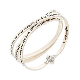 AMEN bracelets: Amen Bracelet in white leather Our Father FRA