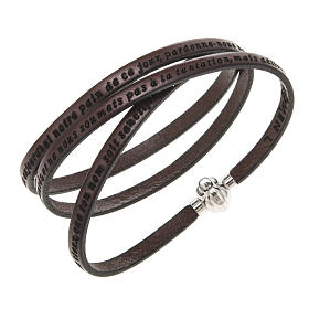 Amen Bracelet in brown leather Our Father FRA s1
