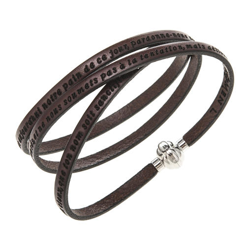 Amen Bracelet in brown leather Our Father FRA 1