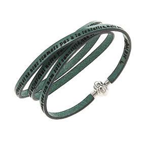 AMEN bracelets: Amen Bracelet in green leather Our Father FRA