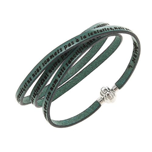 Amen Bracelet in green leather Our Father FRA 1