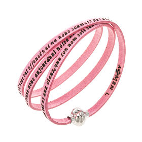 AMEN bracelets: Amen Bracelet in pink leather Our Father FRA