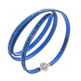 AMEN bracelets: Amen Bracelet in blue leather Our Father FRA