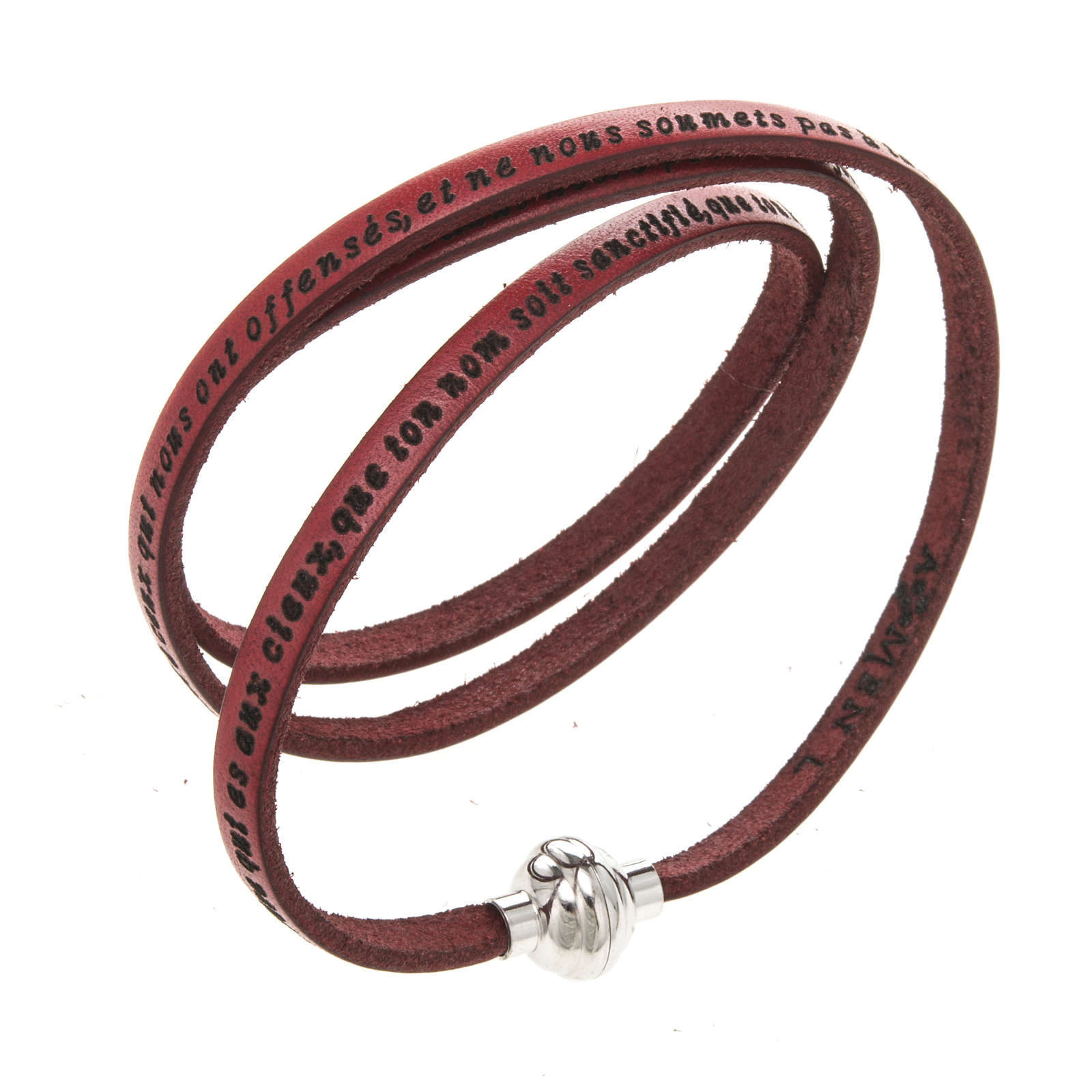 Amen Bracelet in red leather Our Father FRA 4