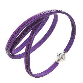 AMEN bracelets: Amen Bracelet in purple leather Our Father FRA