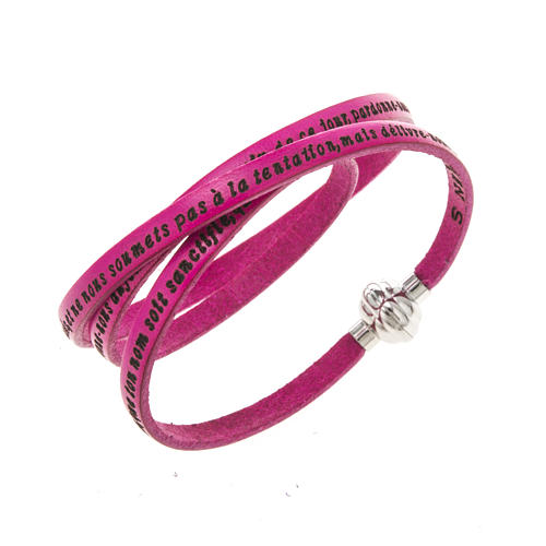 Amen Bracelet in fuchsia leather Our Father FRA 1