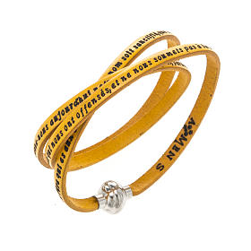 AMEN bracelets: Amen Bracelet in yellow leather Our Father FRA