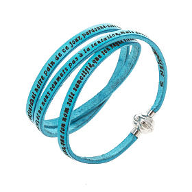 AMEN bracelets: Amen Bracelet in turquoise leather Our Father FRA