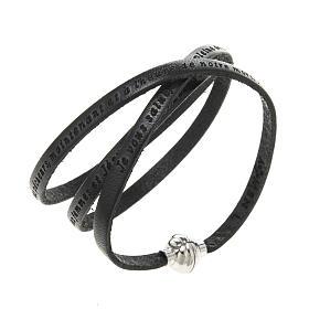 Amen Bracelet in black leather Hail Mary FRA s1