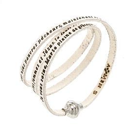 AMEN bracelets: Amen Bracelet in white leather Hail Mary FRA