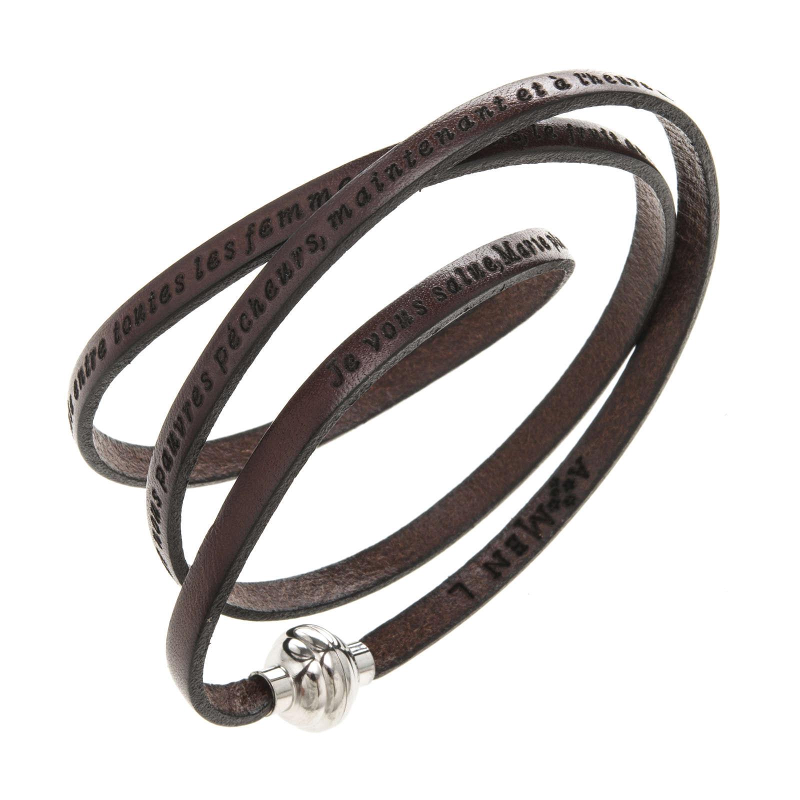 Amen Bracelet in brown leather Hail Mary FRA 4