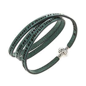 AMEN bracelets: Amen Bracelet in green leather Hail Mary FRA
