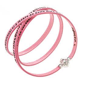 AMEN bracelets: Amen Bracelet in pink leather Hail Mary FRA