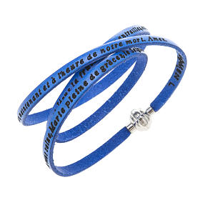 Amen Bracelet in blue leather Hail Mary FRA s1