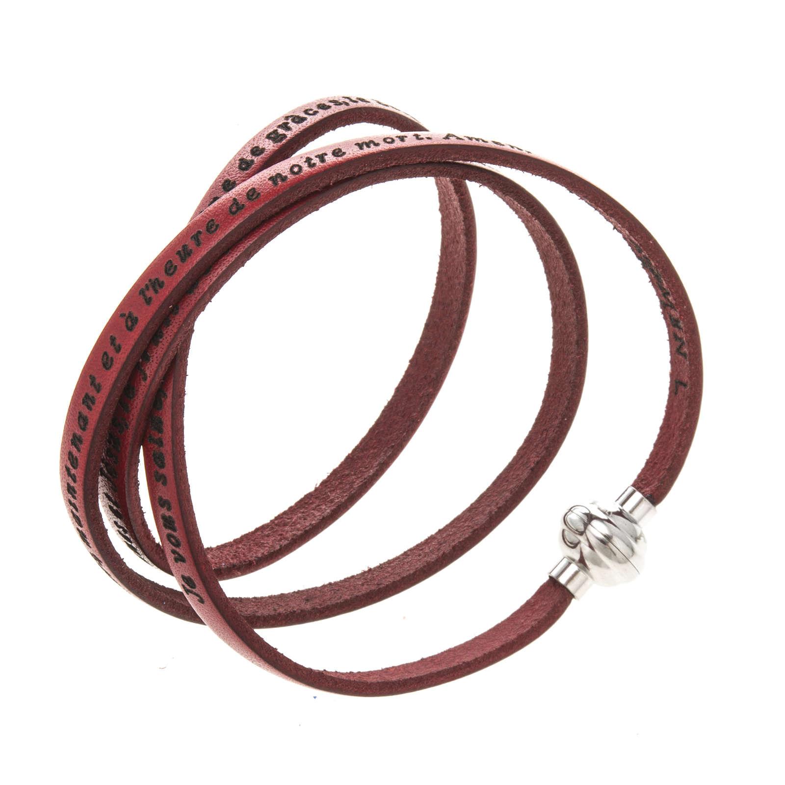 Amen Bracelet in red leather Hail Mary FRA 4