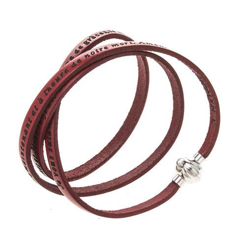 Amen Bracelet in red leather Hail Mary FRA 1