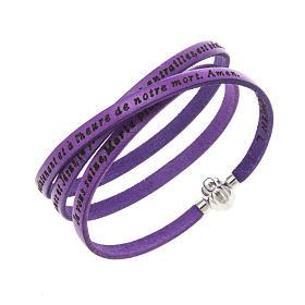 AMEN bracelets: Amen Bracelet in purple leather Hail Mary FRA