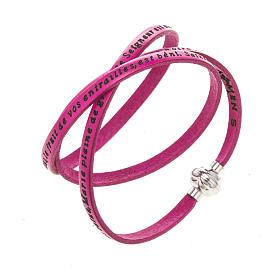 AMEN bracelets: Amen Bracelet in fuchsia leather Hail Mary FRA