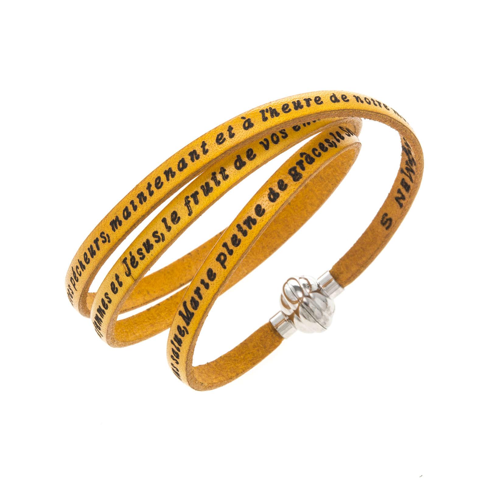 Amen Bracelet in yellow leather Hail Mary FRA 4