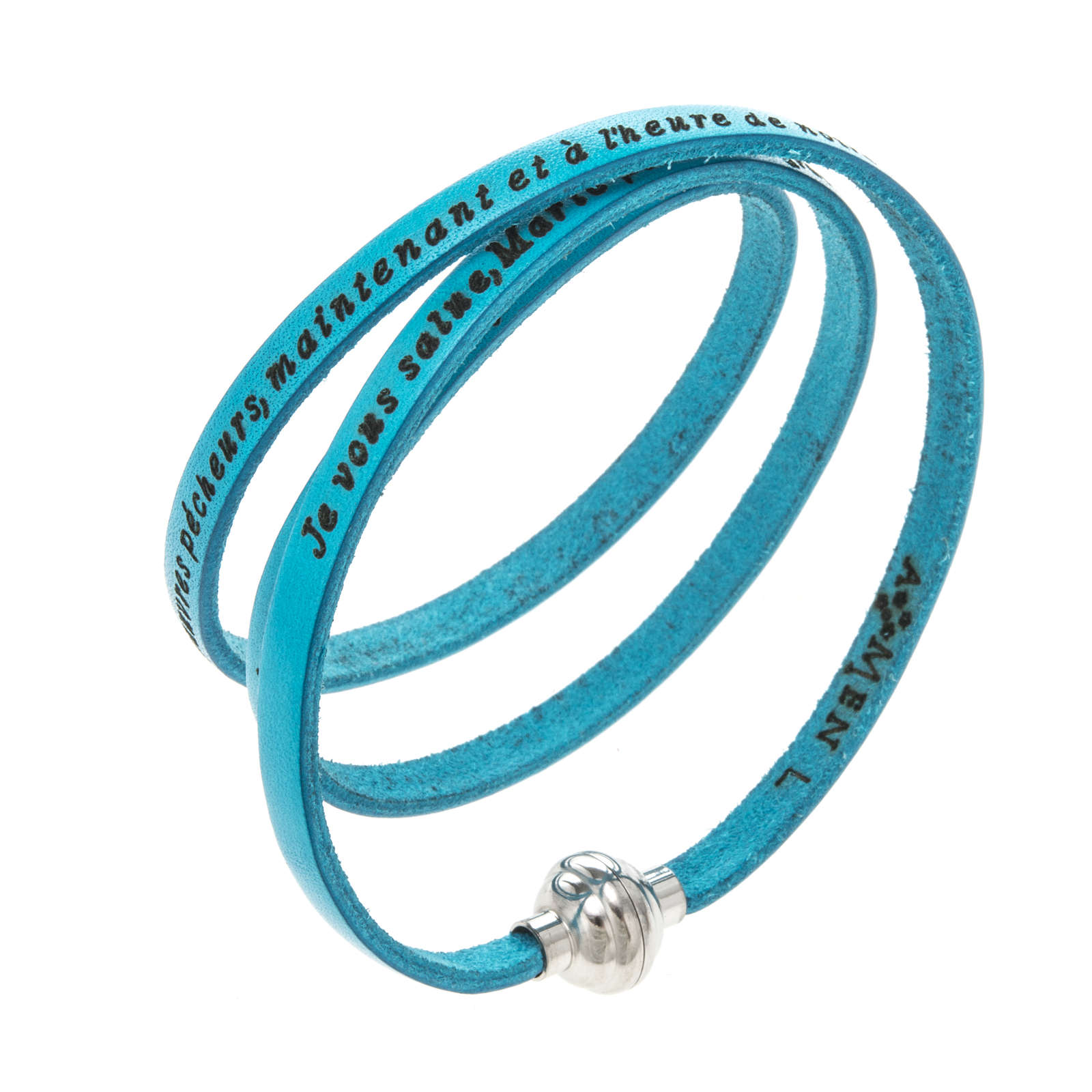 Amen Bracelet in turquoise leather Hail Mary FRA 4