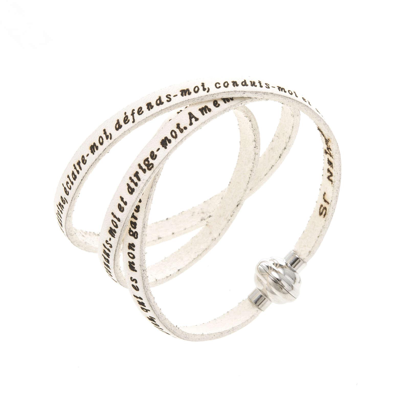 Amen Bracelet in white leather Guardian Angel ENG 4