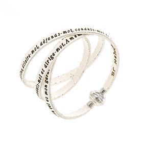 Amen Bracelet in white leather Guardian Angel ENG s1