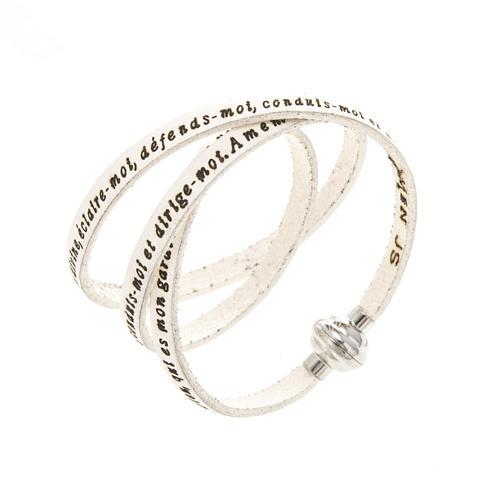 Amen Bracelet in white leather Guardian Angel ENG 1