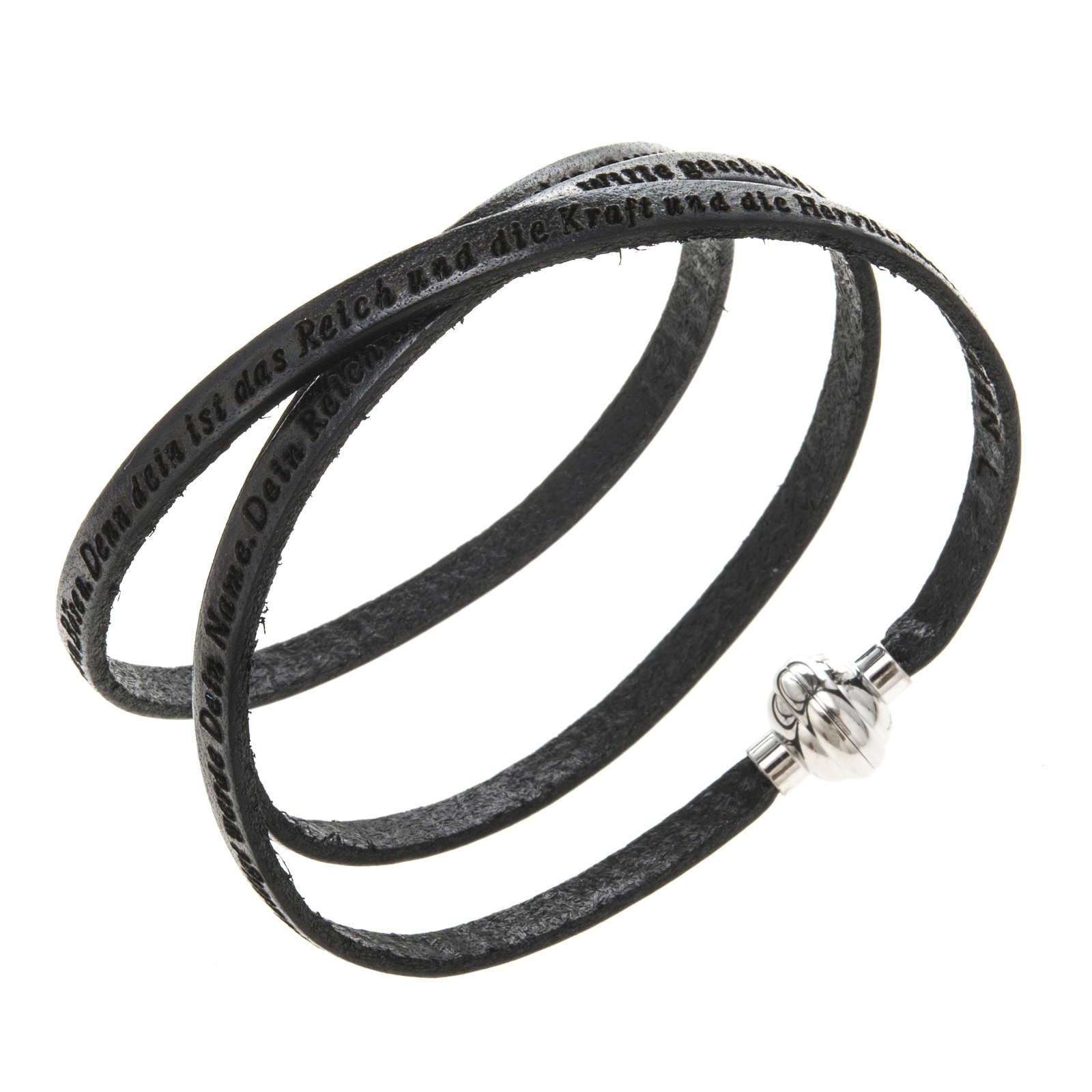 Amen Bracelet in black leather Our Father GER 4