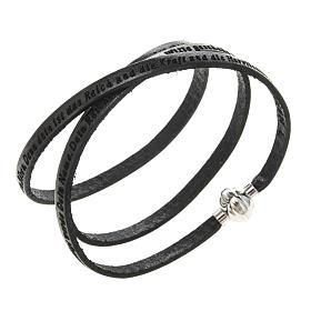 AMEN bracelets: Amen Bracelet in black leather Our Father GER